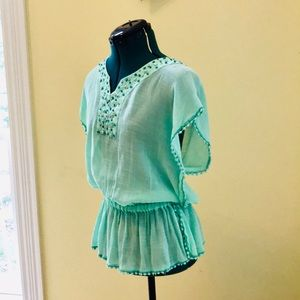 NY Collection Green Embellished Gauze Top